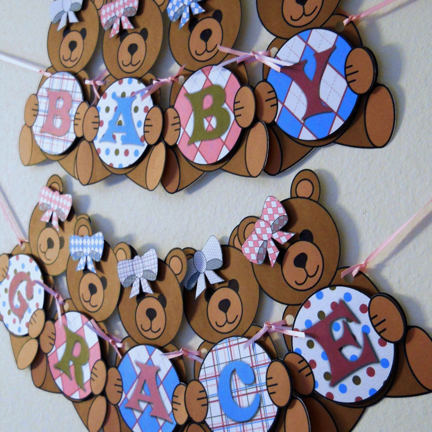 Teddy Bear Baby Shower Banner Party Decorations   Custom Words (10 Letters)