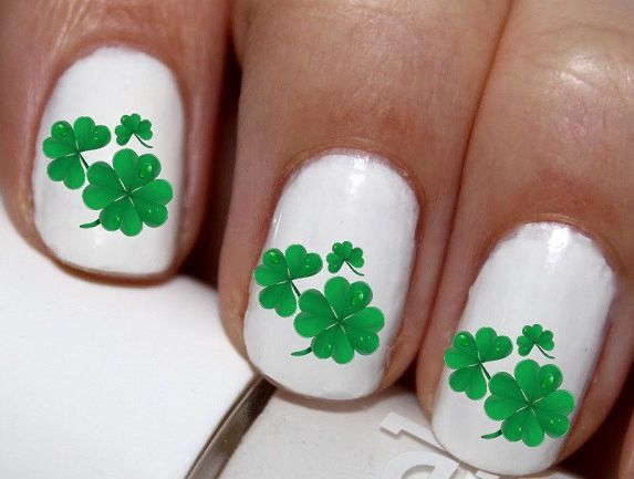 20 pc St Patricks Day 4 Leaf Clover Shamrock Nail Art Nail Decals Nail Stickers Lowest Price On Etsy #cg7138na