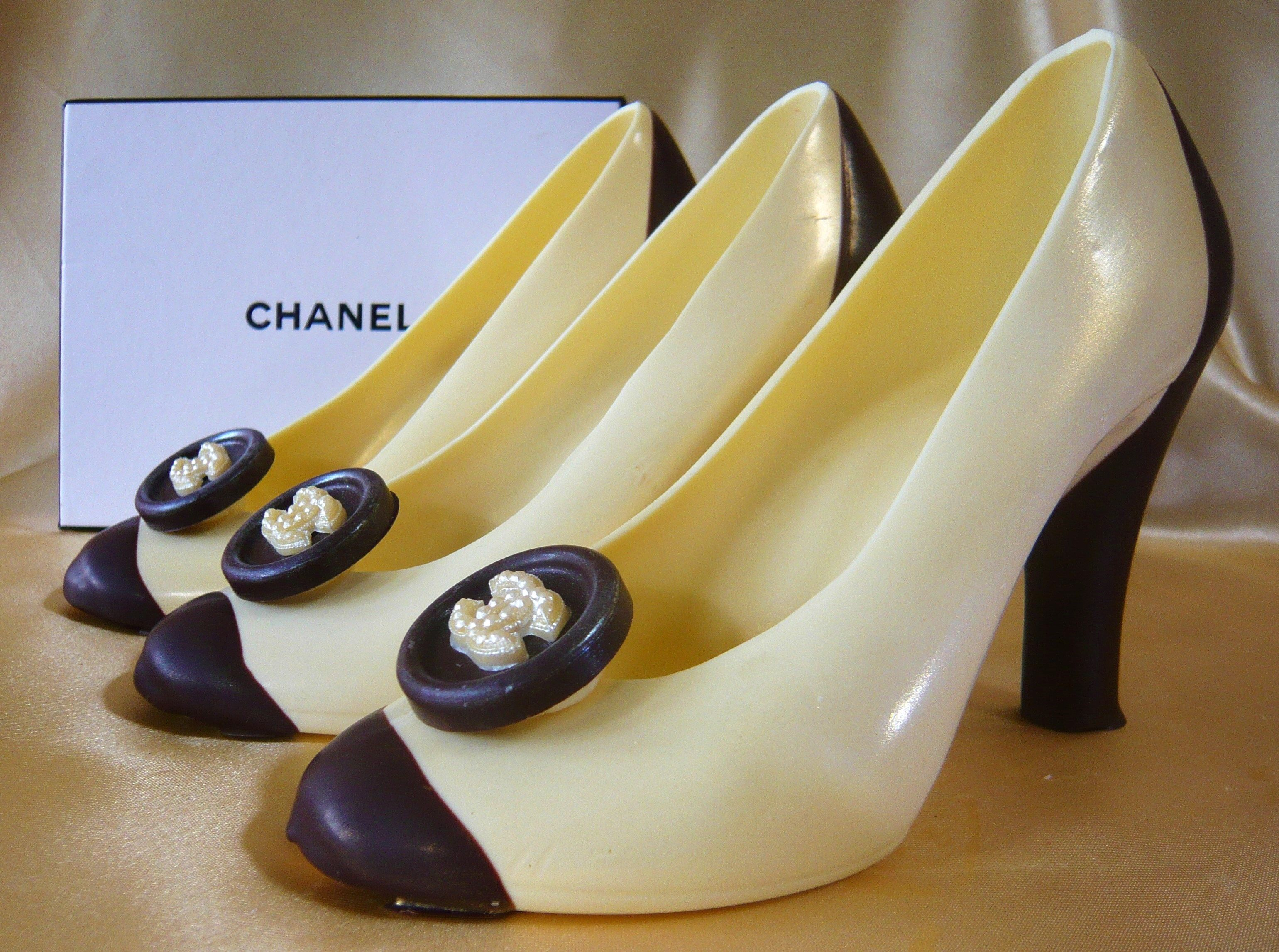 Chanel Inspired Chocolate Stiletto Shoes Heels From Cathryn Cariad Chocolates Www Cathryncariad Com Chocolate Shoe Stiletto Shoes Chanel Inspired