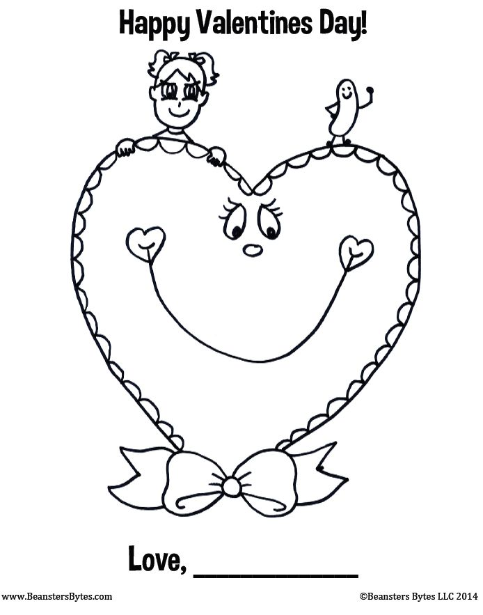 Free printable coloring page with a Valentine\'s Day card theme! Easy ...