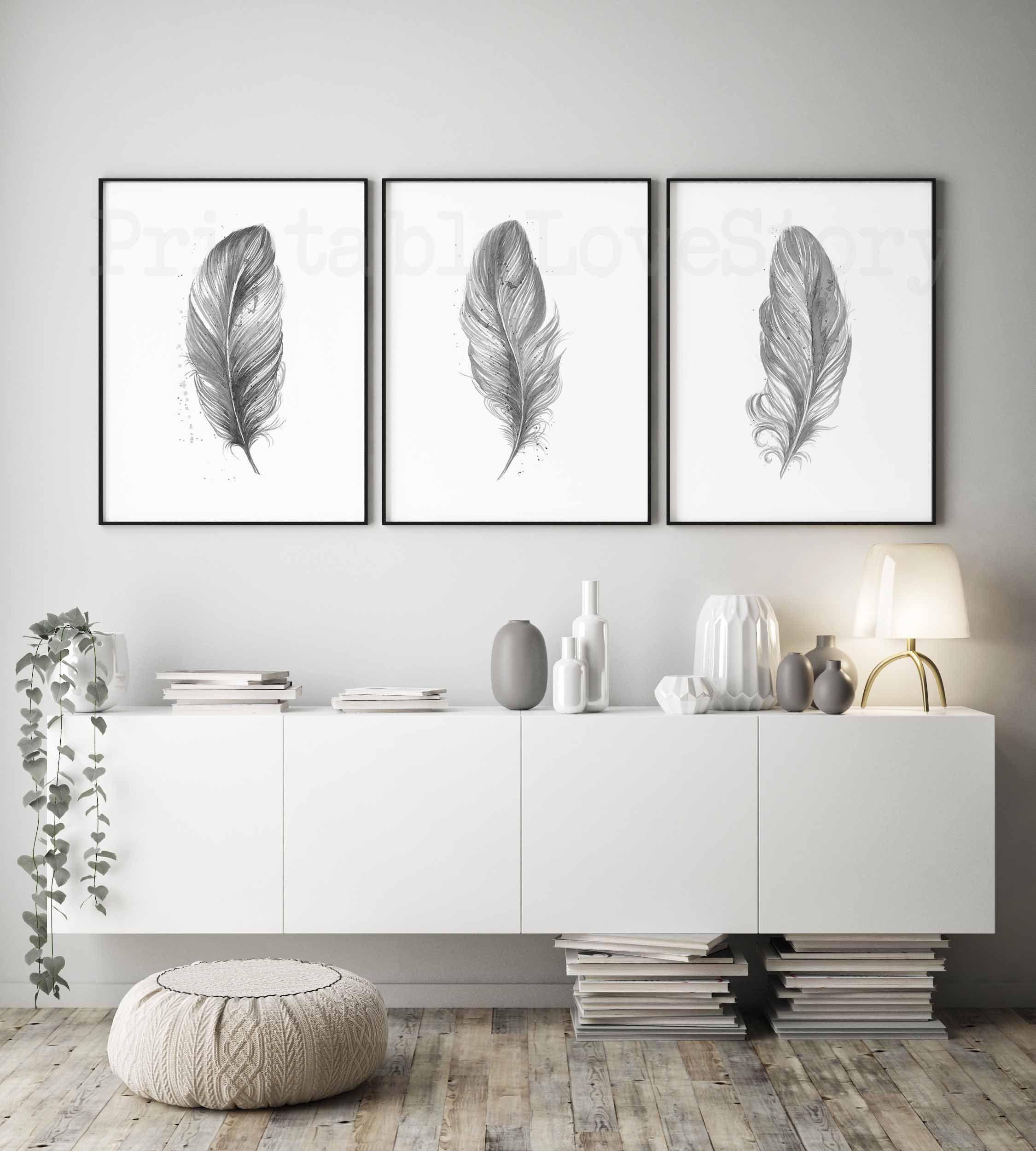 Feathers Printable Printable Wall Art Bedroom Wall Decor Grey Print Set Of 3 Prints Scandinavian Wall Decor Bedroom Printable Wall Art Bedroom Room Wall Decor