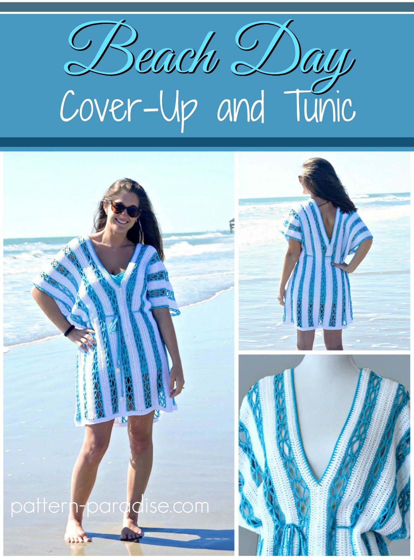 Celebratemomcal Beach Day Cover Up Tunic Pattern Paradise Crochet Bathing Suit Cover Crochet Clothes Patterns Crochet Top Pattern
