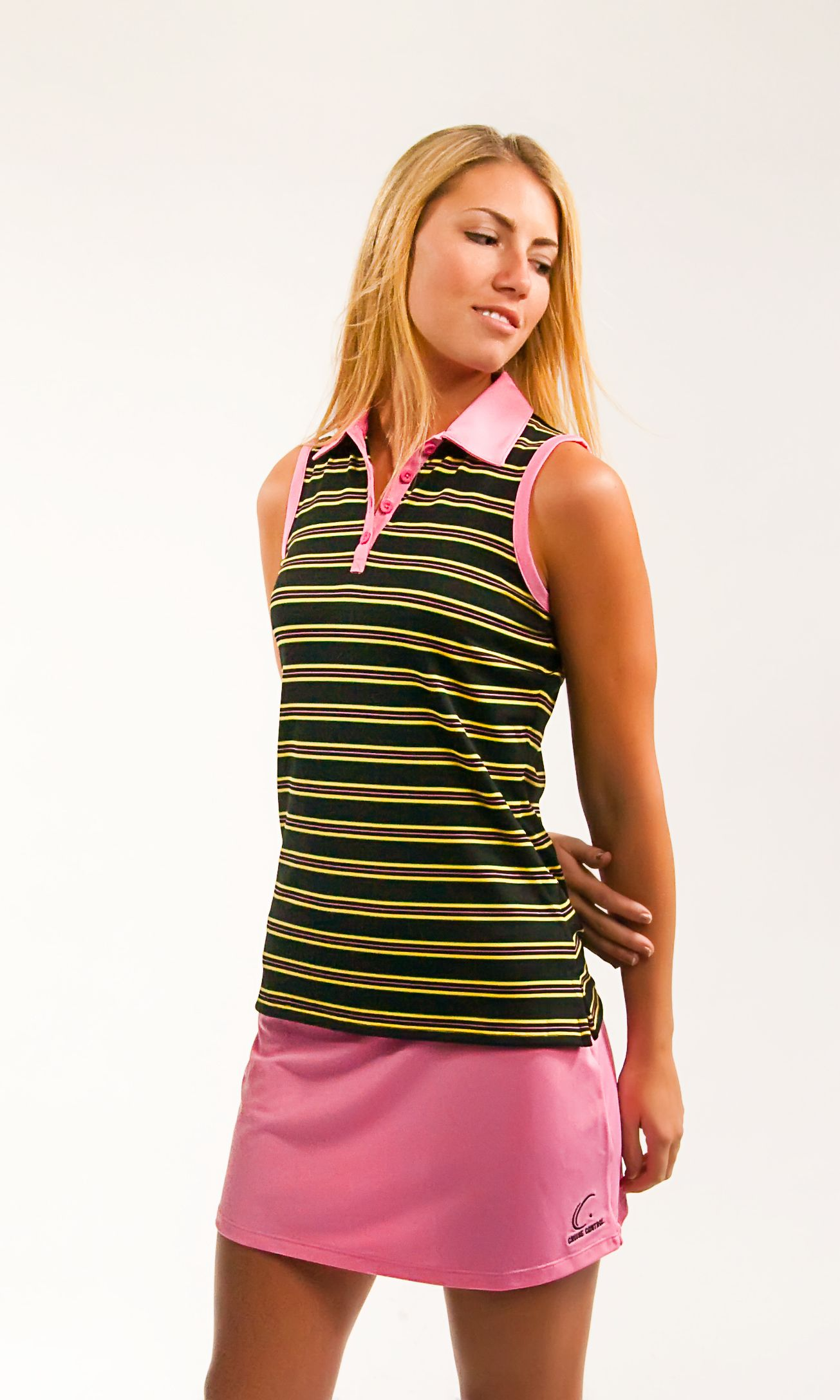 So cute! Love the Pink trim, what a perfect pair! Match Point Melon Sleeveless Polo and Skort Matching Set!