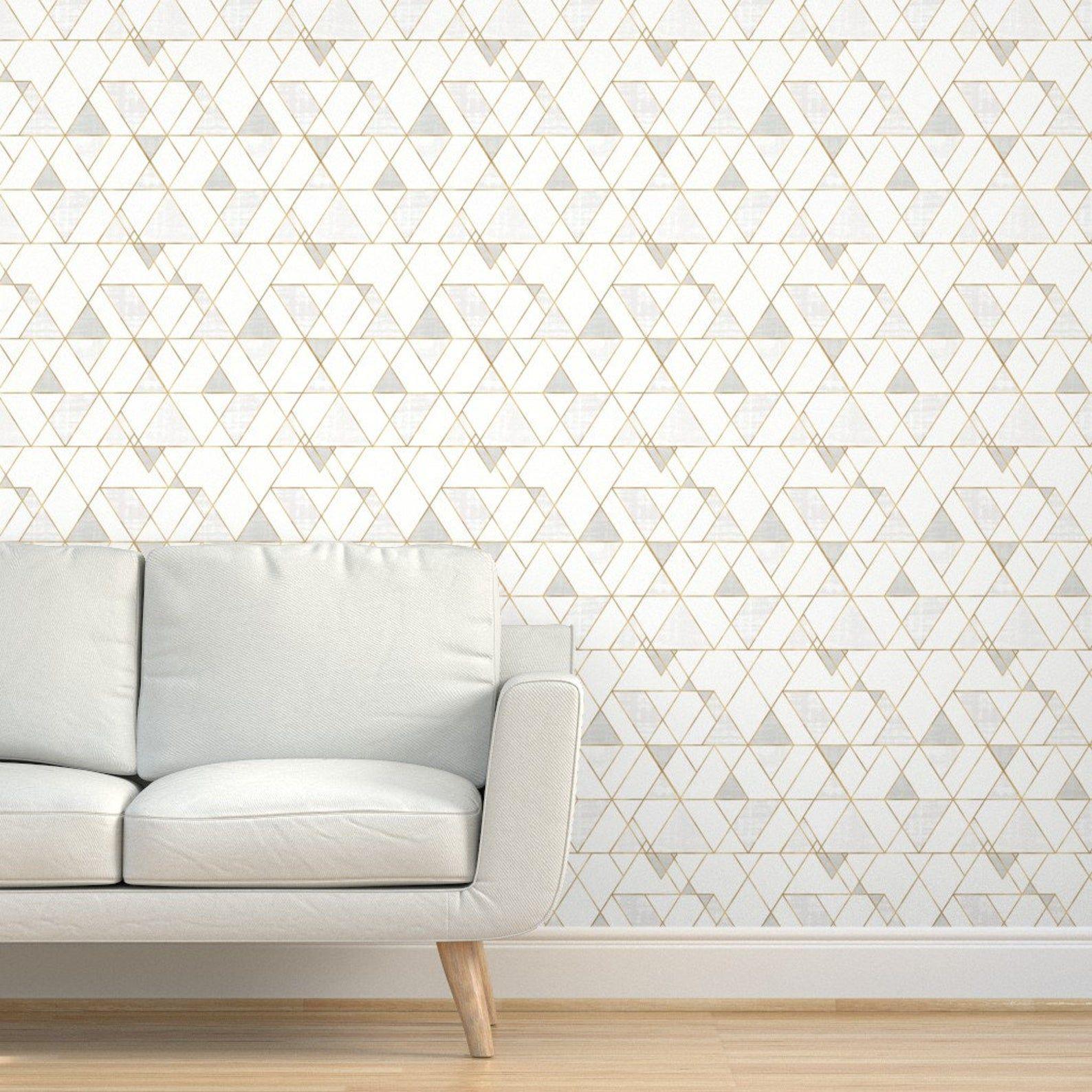 Mod Wallpaper Mod Triangles White Gold 12 Repeat By Etsy White And Gold Wallpaper Gold Wallpaper Textured Walls