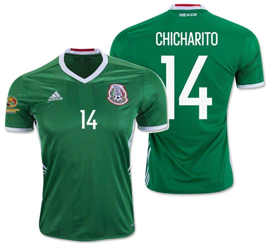 07dce80a6 Adidas chicharito mexico home jersey copa america 2016 patch ...