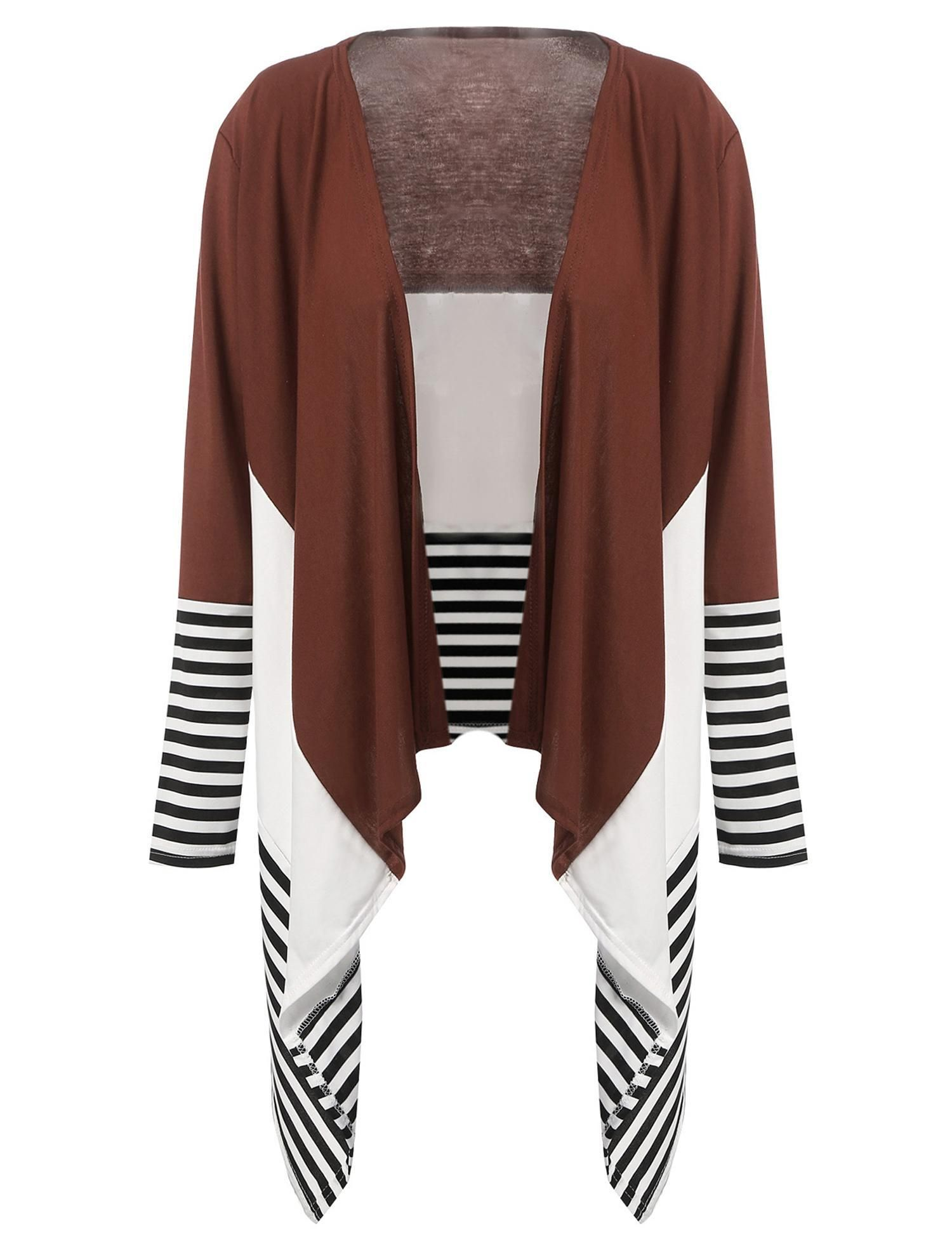 Dark brown Long Sleeve Patchwork Irregular Hem Cardigan | Dark ...