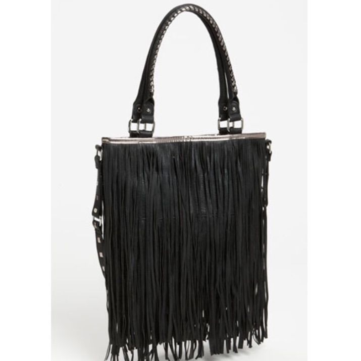 Steve Madden Black Leather Fringe Purse
