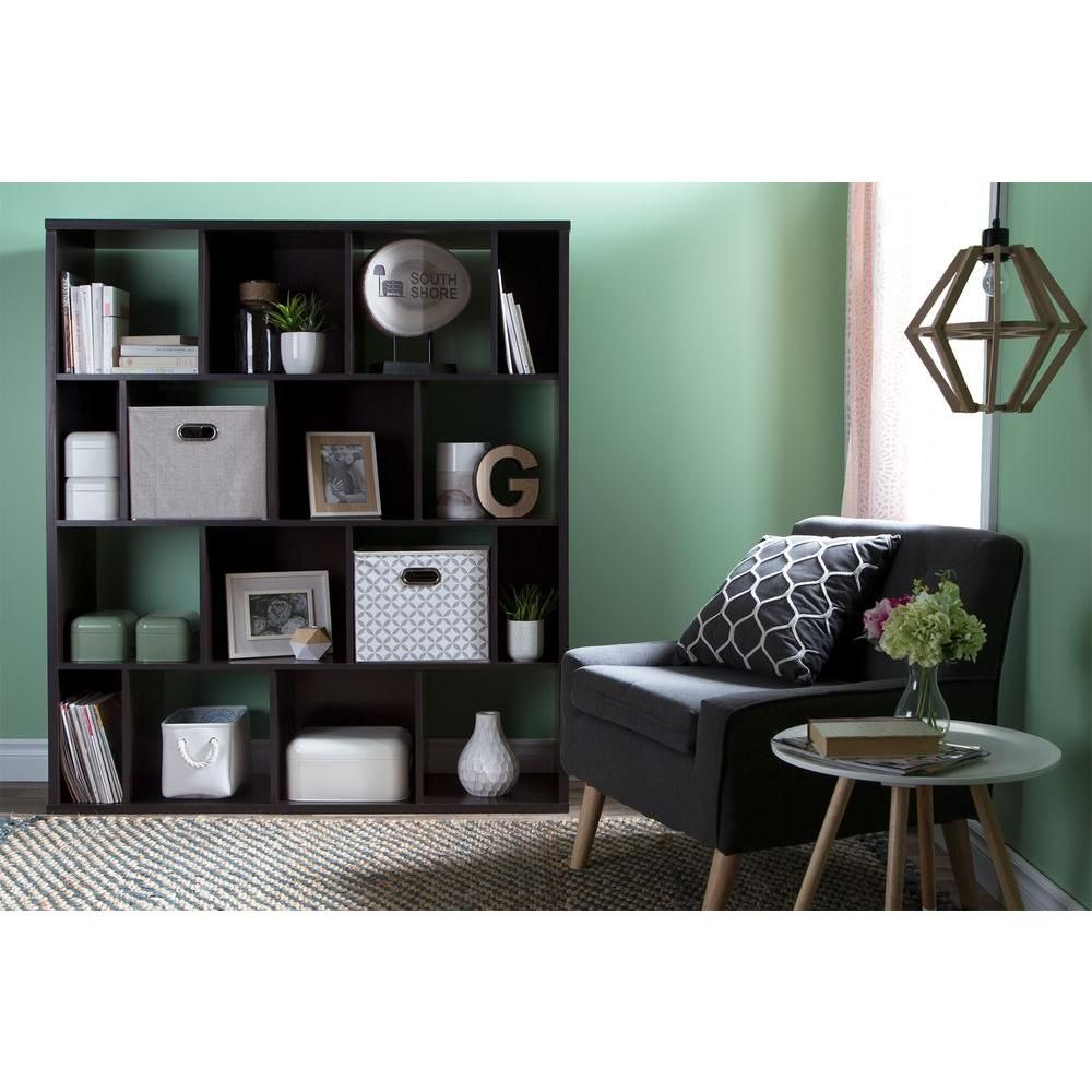 Reveal 16-Shelf Bookcase with 2 Fabric Storage Baskets in Chocolate (Brown)