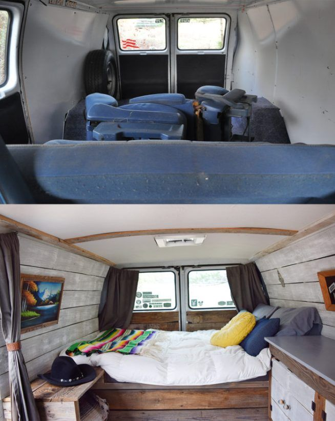 Camper Van Before and After Remodel Small campers, Cargo