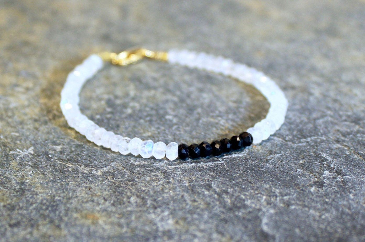 Spiritual Moonstone Bracelet With Meaning Black White Bead Tourmaline And Cherokee Jewelry By