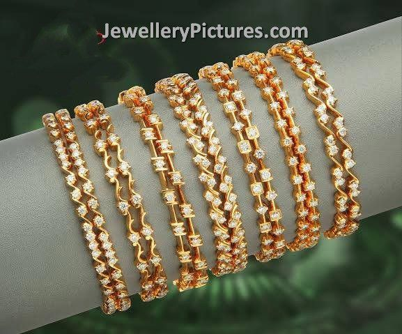 Trendy Contemporary Gold Diamonds Bangles Designs With Fine Carvings And Latest Intrications Studded Suits For All Ages People