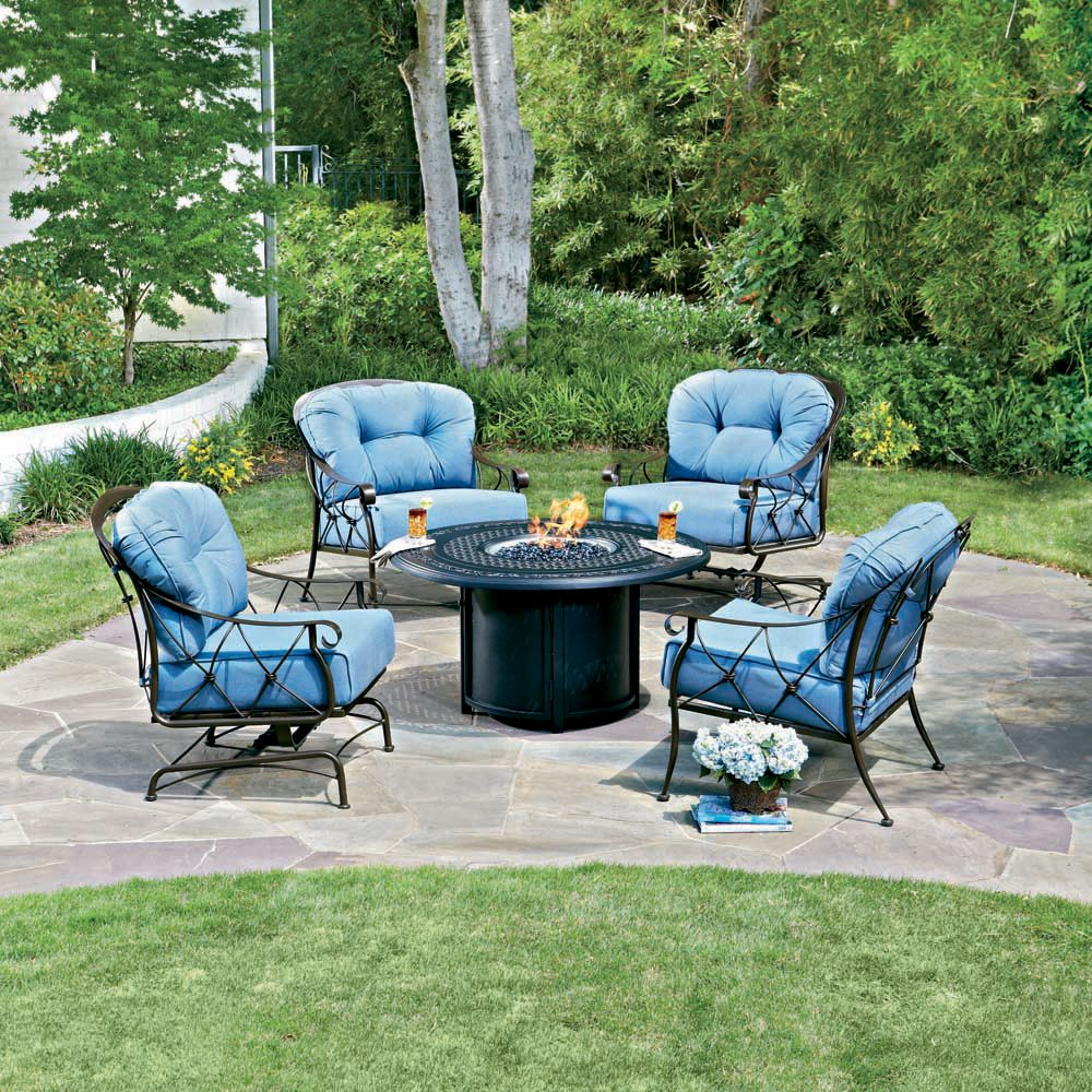 Sophisticated Fire Pit Chat Set From Woodard S Derby Collection Features Wrought Iron Construction And Full Cushioned Comfort