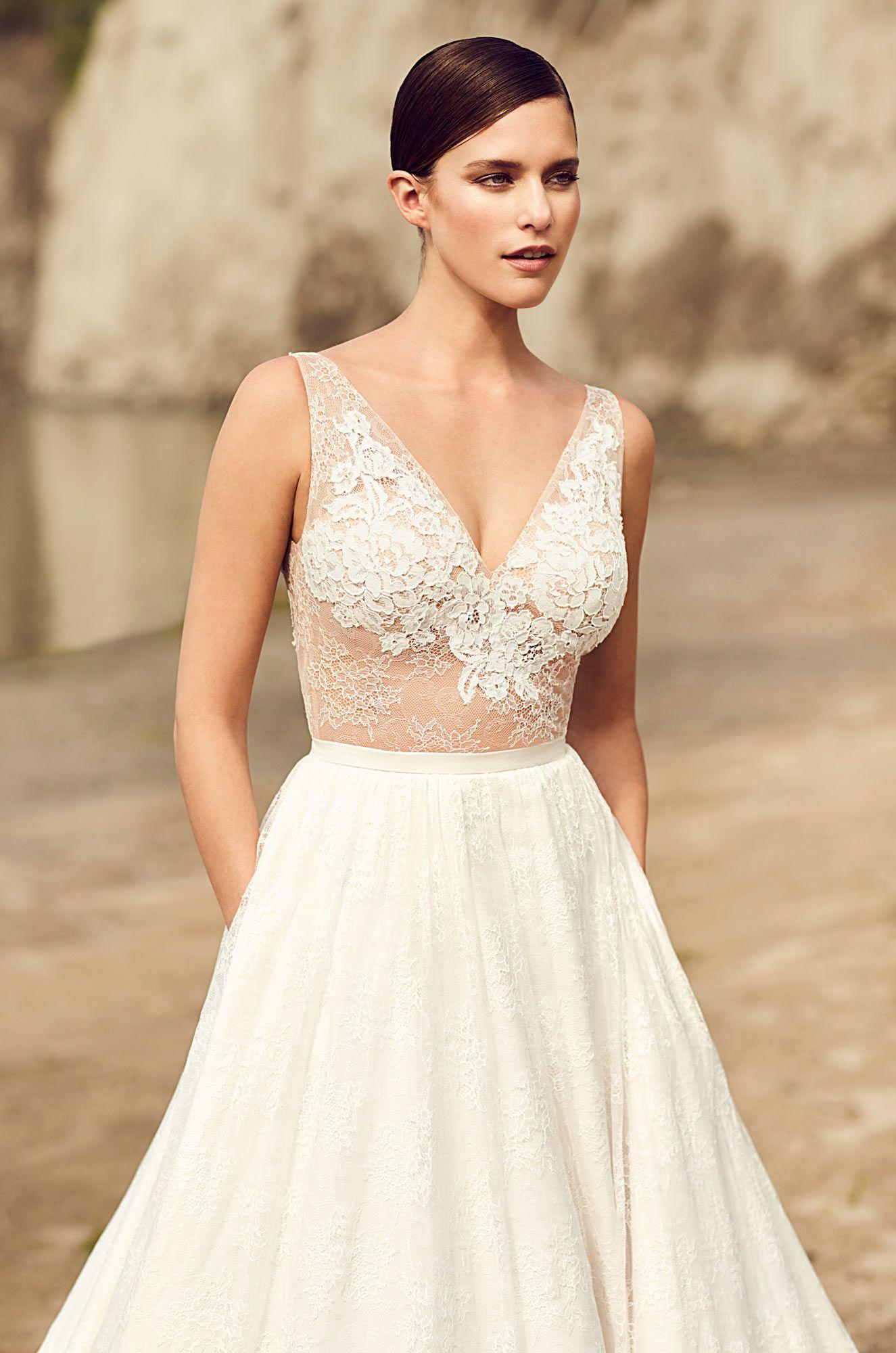 Illusion Lace Bodice Wedding Dress - Style #2114 | Mikaella bridal ...