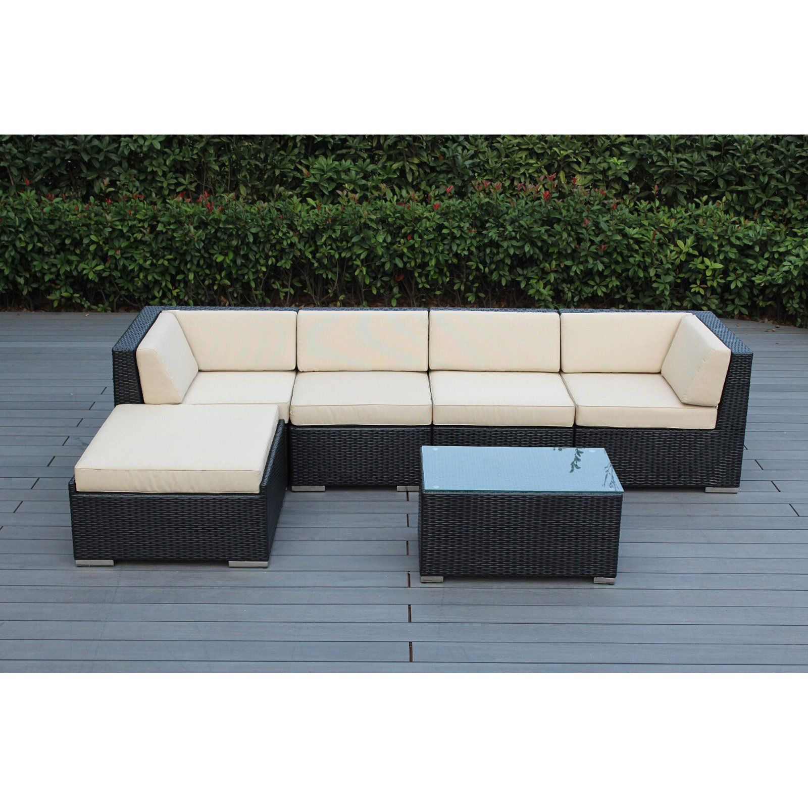 Outdoor Ohana All Weather Wicker 6 Piece Sectional Patio