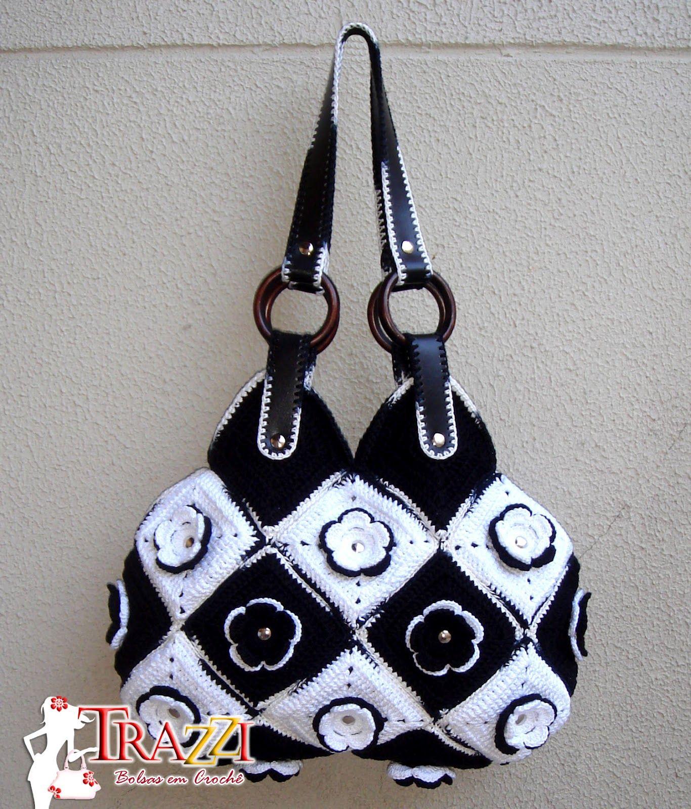 Bolsa de croche preta e branca : Crochet handbag bolsa fiore preta e branca catiele