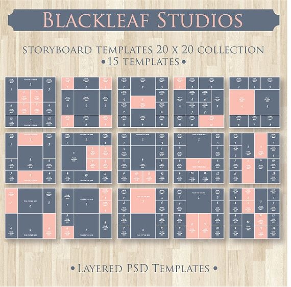 Photo Storyboard Template - 20x20 inches PSD Digital Scrapbooking Photographer frames - Instant Download