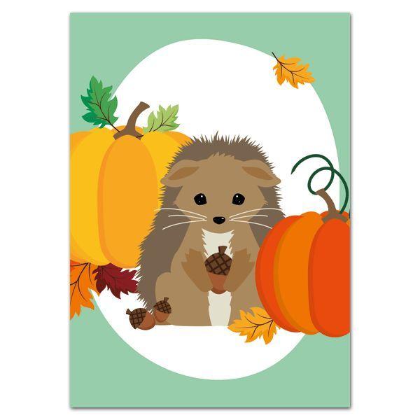 Oktoberdots Postkaart Herfst Egel