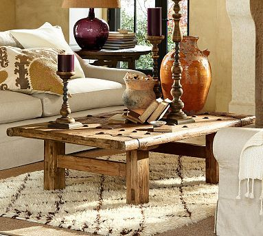 Pottery Barn Hastings Coffee Table With Reclaimed Barn Door Top