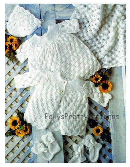 c144f0124161 PDF Knitting Pattern for Baby Layette Set - 12-18