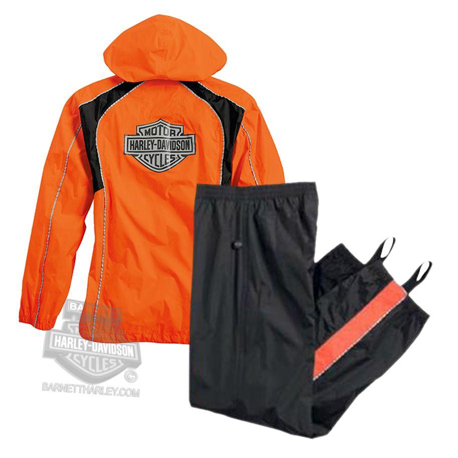 Harley Davidson Womens Hi Vis Reflective B S Waterproof Orange Rain Suit Motorcycle Accessories Rain Suit Harley Davidson Rain Gear Rain Gear