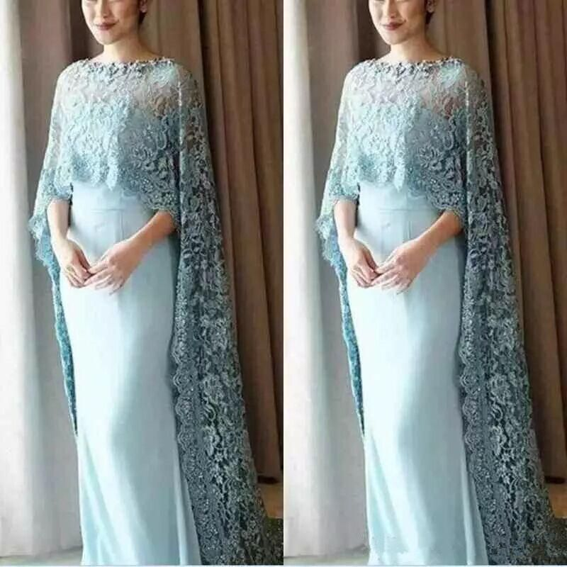 Elegant Lace Mother of the Bride Dresses With Cape Light Blue ...