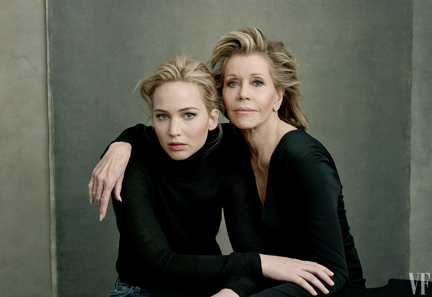 Jane Fonda (with Jennifer Lawrence)–47 films, 2 Oscars, 2 BAFTAs, 1 Emmy. Photograph by Annie Leibovitz.