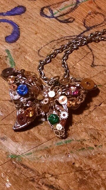 Steam punk butterfly w/gears & stones