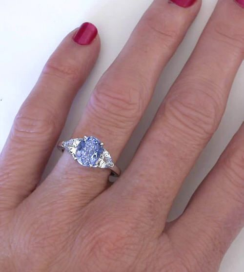 b1479deaa Three Stone Ring with Ceylon Sapphire and Trillion White Sapphire Ring in 14k  white gold