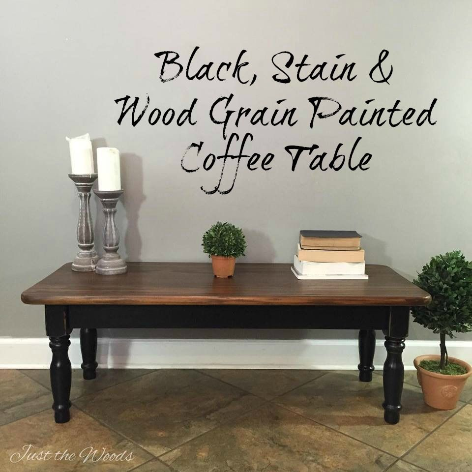 Black Stain Wood Grain Coffee Table Makeover By Just The Woods Painted Coffee Tables Coffee Table Makeover Staining Wood