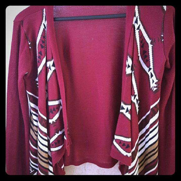 Maroon cardigan Aztec print cardigan. Sweaters Cardigans