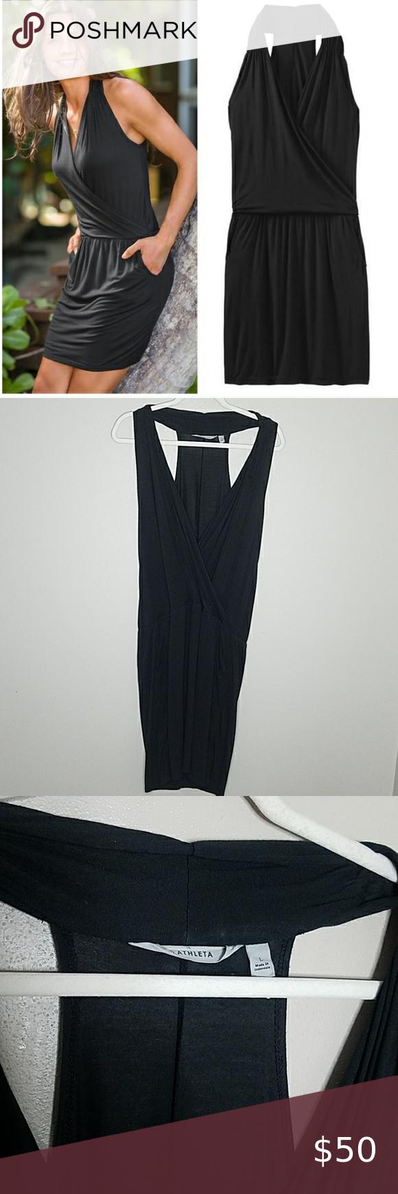 Athleta Crosstown Dress, Size Large Athleta Crosstown Dress, Size L in Black Faux Wrap, Pockets, Sleeveless, Plunge V-neck.  94% Modal, 6% Spandex.  Measures approximately 39.5