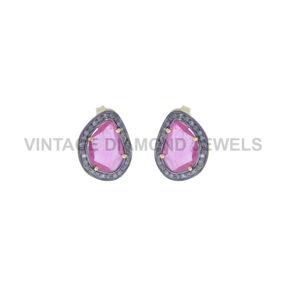Stud Ruby Natural Sterling Silver Fine Earrings Pave Diamond Ruby Silver Stud…