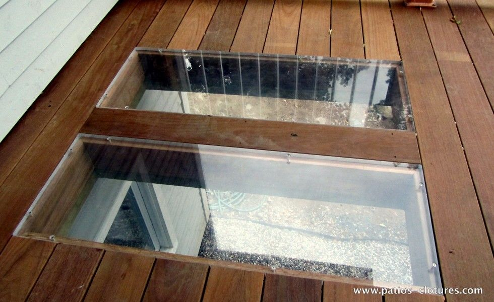 Plexiglass In The Deck Floor To Allow Light To Reach The