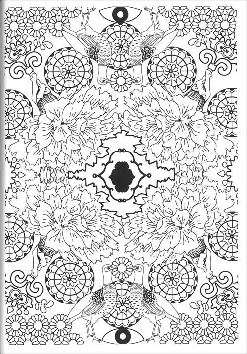 Coloriages psychedelique 500 715 birds coloring - Anti coloriage ...