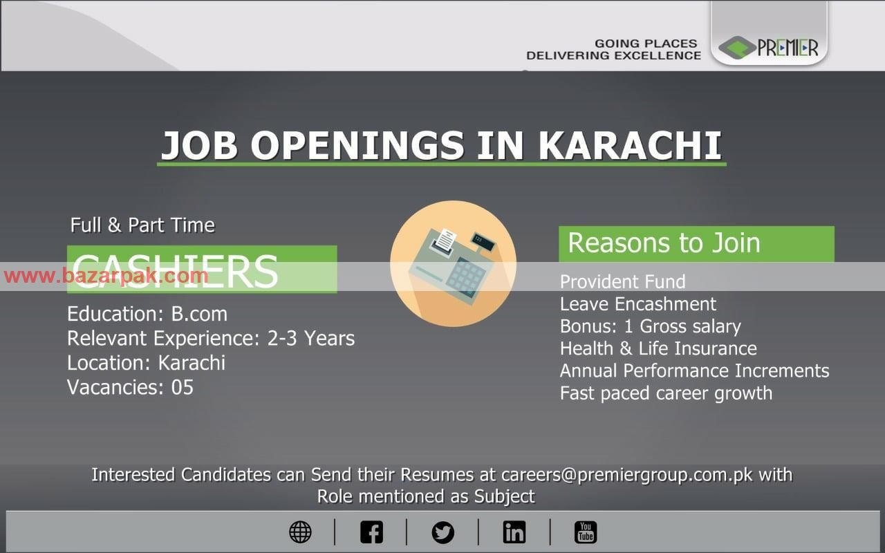 Job Openings In Karachi Position Cashier Education B Com