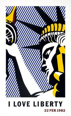 I Love Liberty Poster, 1982 - Roy Lichtenstein - Offset lithograph, in blue, red, yellow, and black, on 80# Quintessence dull coated cover stock, 39 1/8 x 23 1/2 inches, 99.3 x 59.7 cm