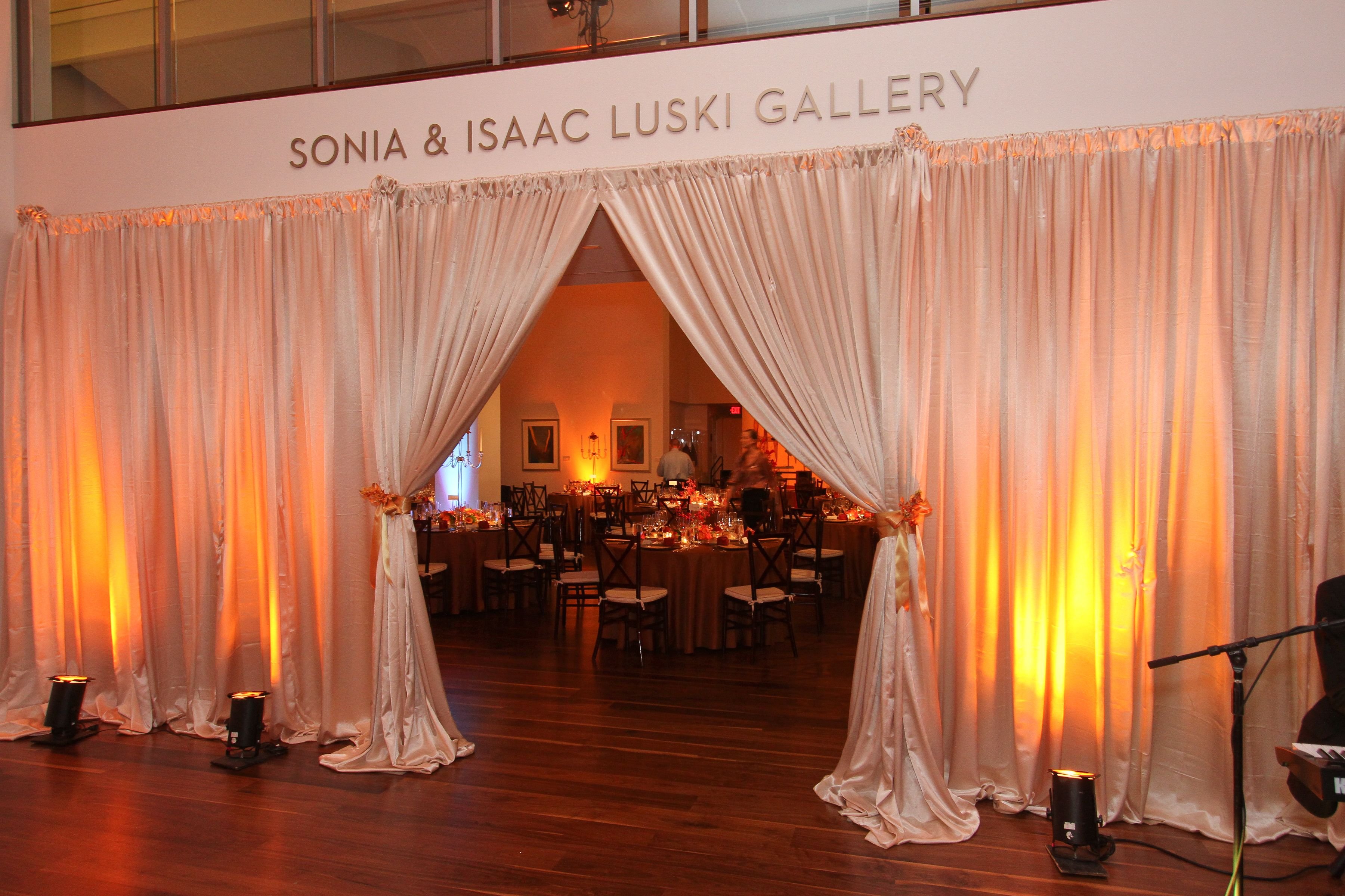 Lovely draping at a corporate holiday party in Charlotte