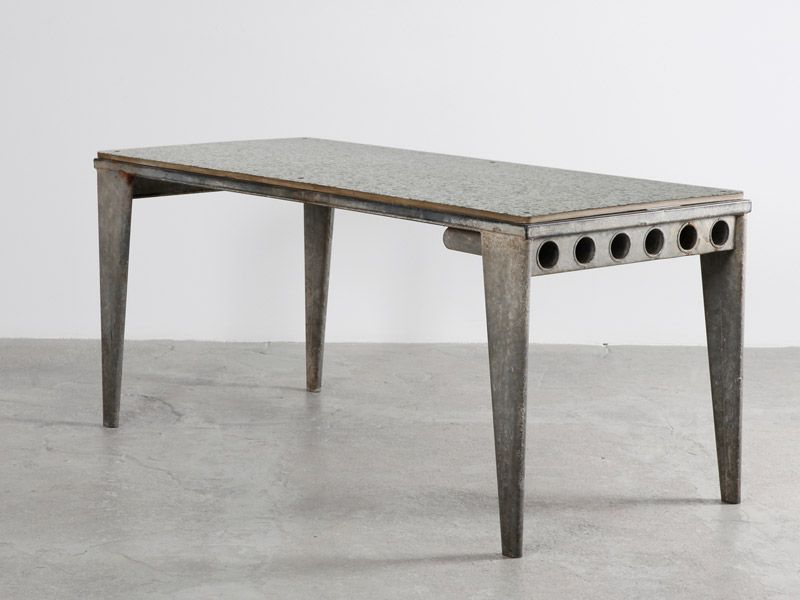 REFECTORY TABLE WITH STREAMER LEGS, 1939 GALVANIZED STEEL SHEET AND  GRANIPOLI TABLE TOP 73 X