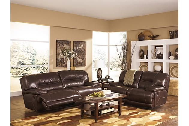 Brown Leather Recliner Sofa And Loveseat With Coffee Table For Your Living Room Décor By Ashley