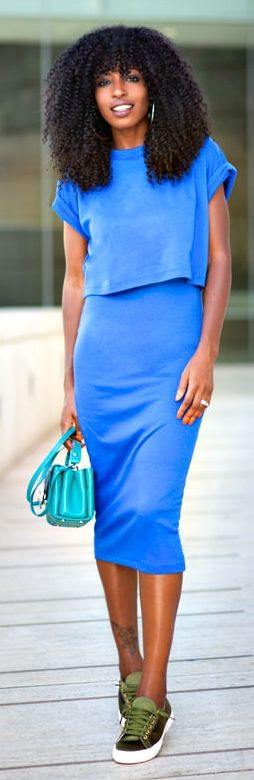 Klein Blue Chiffon Skirt And Top Set by Style Pantry