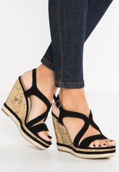 Pier One - Sandalen met sleehak - black · Women's ShoesShoe ...