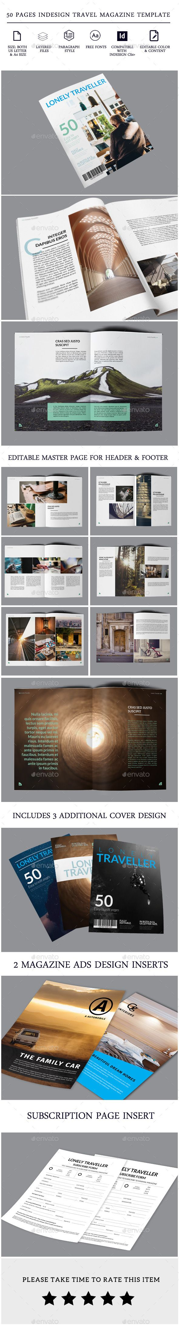Travel Magazine -50 pages Indesign Template | Editorial, Diseño ...