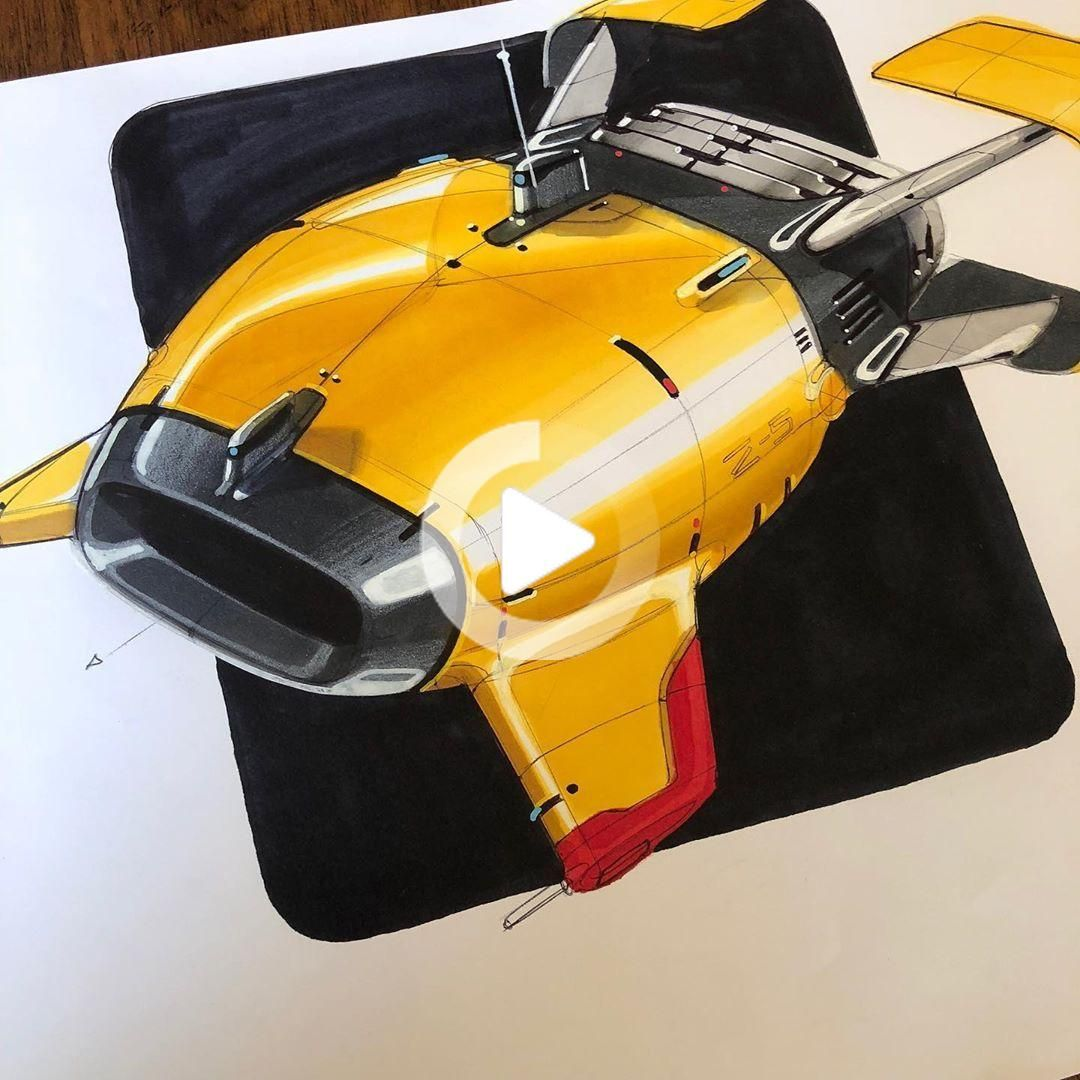 "Matthias Schenker on Instagram: ""yellow submarine ⚓️#submarine #deepwater #oceanexplorer #design #sketch #designsketch #cardesign #cardesigncommunity #markerdrawing…"" #cars #carideas"