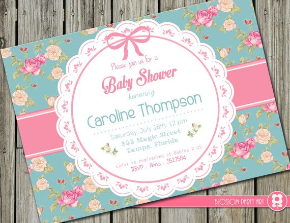 Shabby Chic Baby Shower Invitation Floral Baby Girl