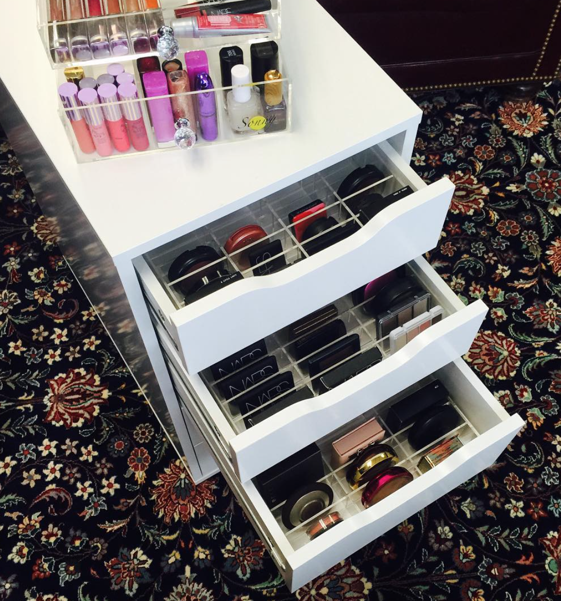 Sonny Cosmetics Ikea alex makeup organization and storage