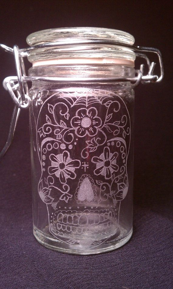 Day Of The Dead Sugar Skull  Hand Engraved Glass by KittyPiston, $20.00