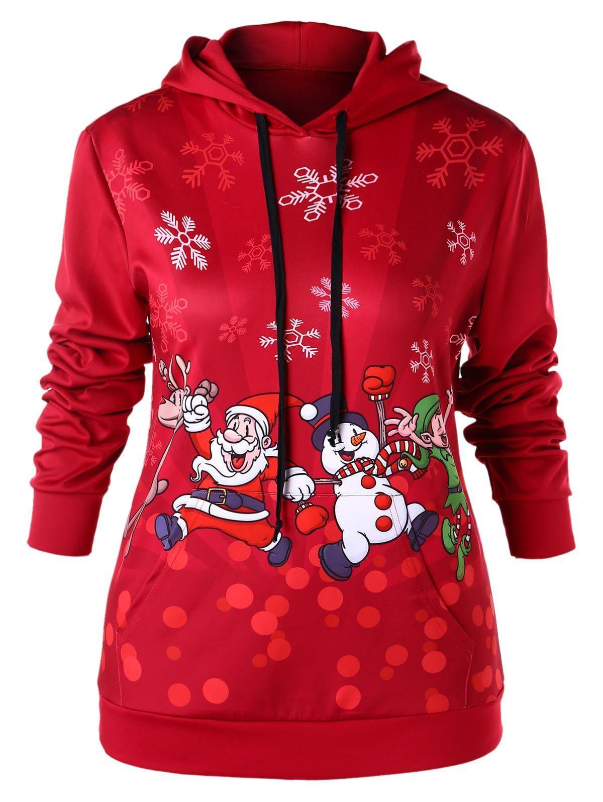 Plus Size Kangaroo Pocket Christmas Snowflake Santa Claus Hoodie