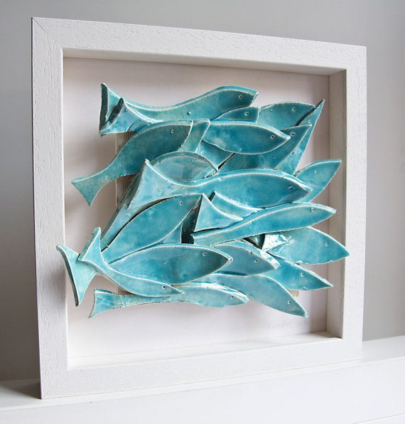 Keramik kunst fischschwarm keramik wandfliese fliesen - Fliesen bemalen ...