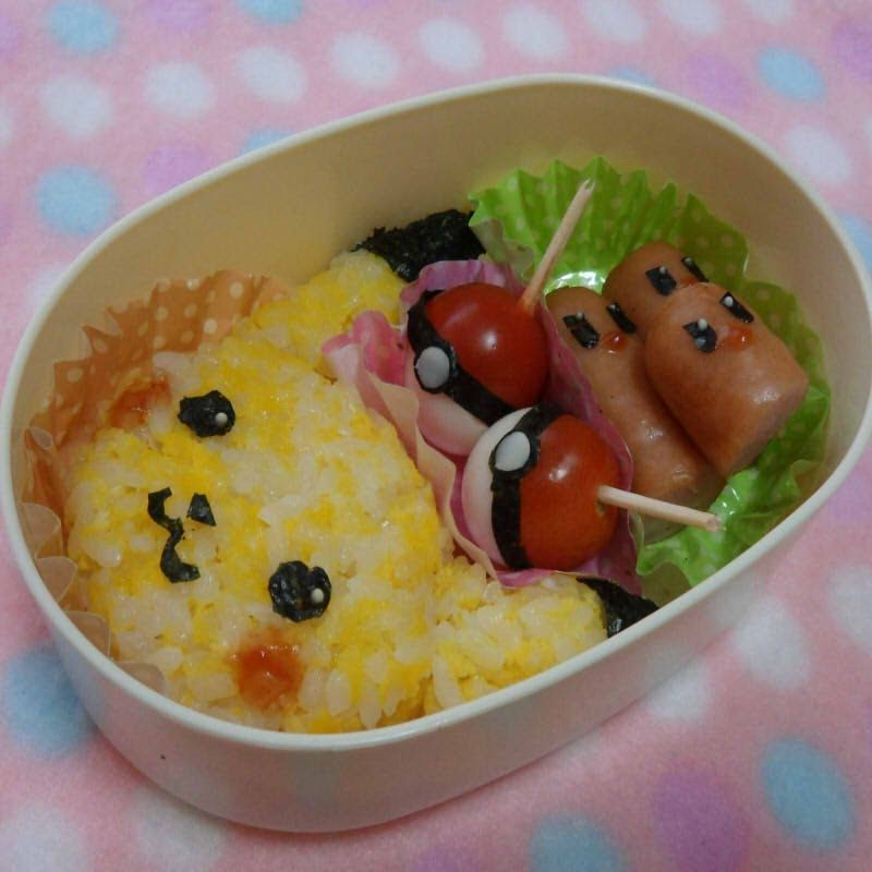 pikachu bento tutorial she doesn 39 t say how to make the pokey balls but i am thinking i could use. Black Bedroom Furniture Sets. Home Design Ideas