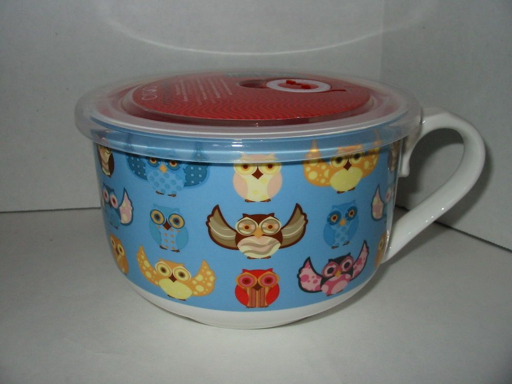 Blue Owl Ciroa Microwaveme Soup Coffee Mug Bowl 5 Steam Lid